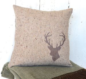 Natural Tweed Wool Stag's Head Cushion - cushions