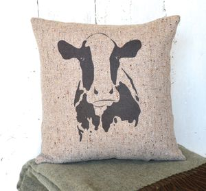 Natural Wool Tweed Cow Cushion - cushions