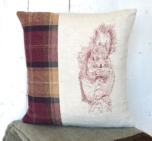 Tweed And Linen Squirrel Cushion