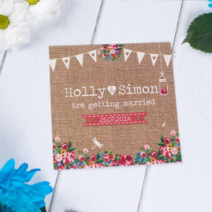 Hessian Floral Wedding Stationery - invitations