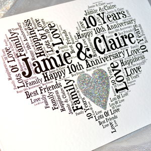 Personalised 10th Wedding Anniversary Love Sparkle Card - cards sent direct