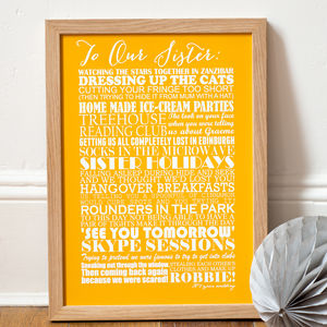 Personalised 'Sister' Art Print - typography