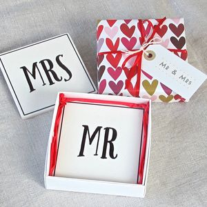 'Mr And Mrs' Ceramic Coasters ~Boxed And Gift Wrapped - table decorations