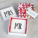 'Mr And Mrs' Ceramic Coasters ~Boxed And Gift Wrapped