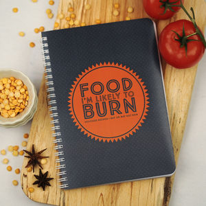Food I'm Likely To Burn Recipe Book In Orange - cookbooks & stands