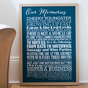 Personalised Memories Print - anniversary prints
