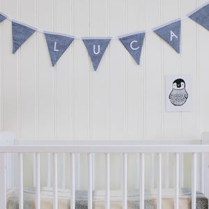 Boy's Blue Linen Personalised Bunting - bunting & garlands