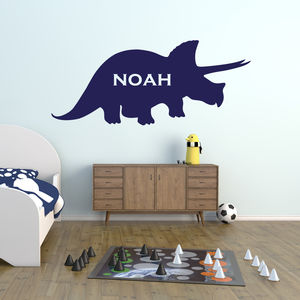 Triceratops Personalised Wall Sticker - baby's room