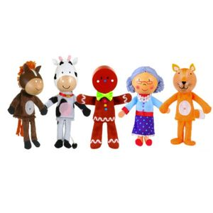 Set Of Gingerbread Man Wooden Finger Puppets
