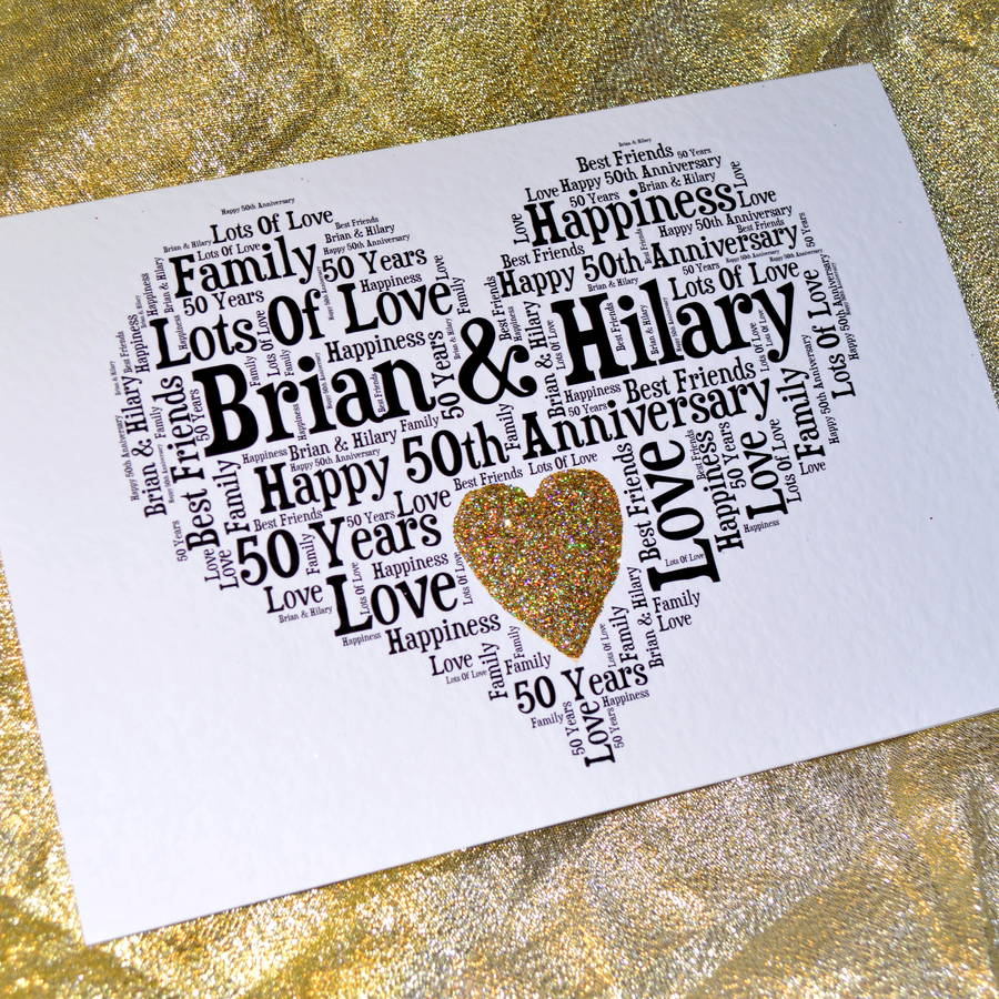 personalised 50th wedding anniversary love sparkle card by sew ...