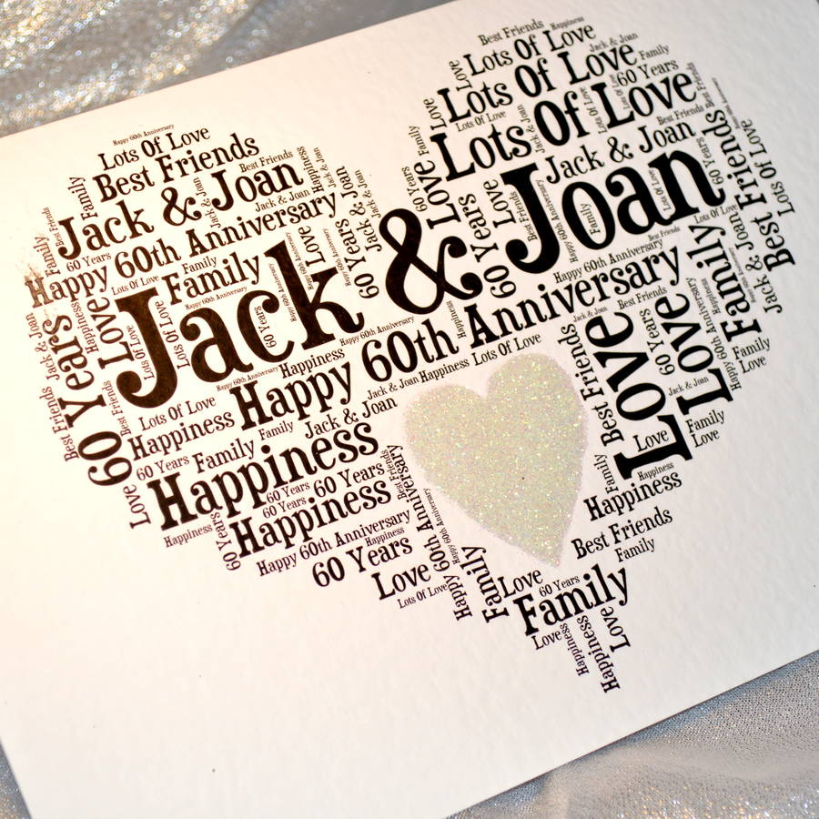 Wedding Anniversary Gifts Uk Wiki : Incredible Personalised 60Th Wedding Anniversary Love Sparkle Card By ...