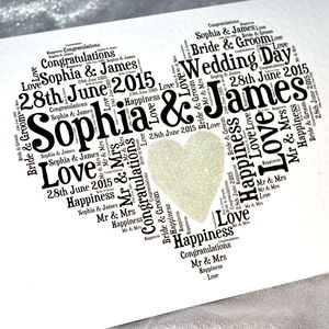 Personalised Wedding Love Sparkle Card