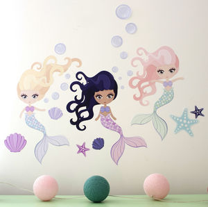 Underwater Mermaid Fabric Wall Stickers - living room