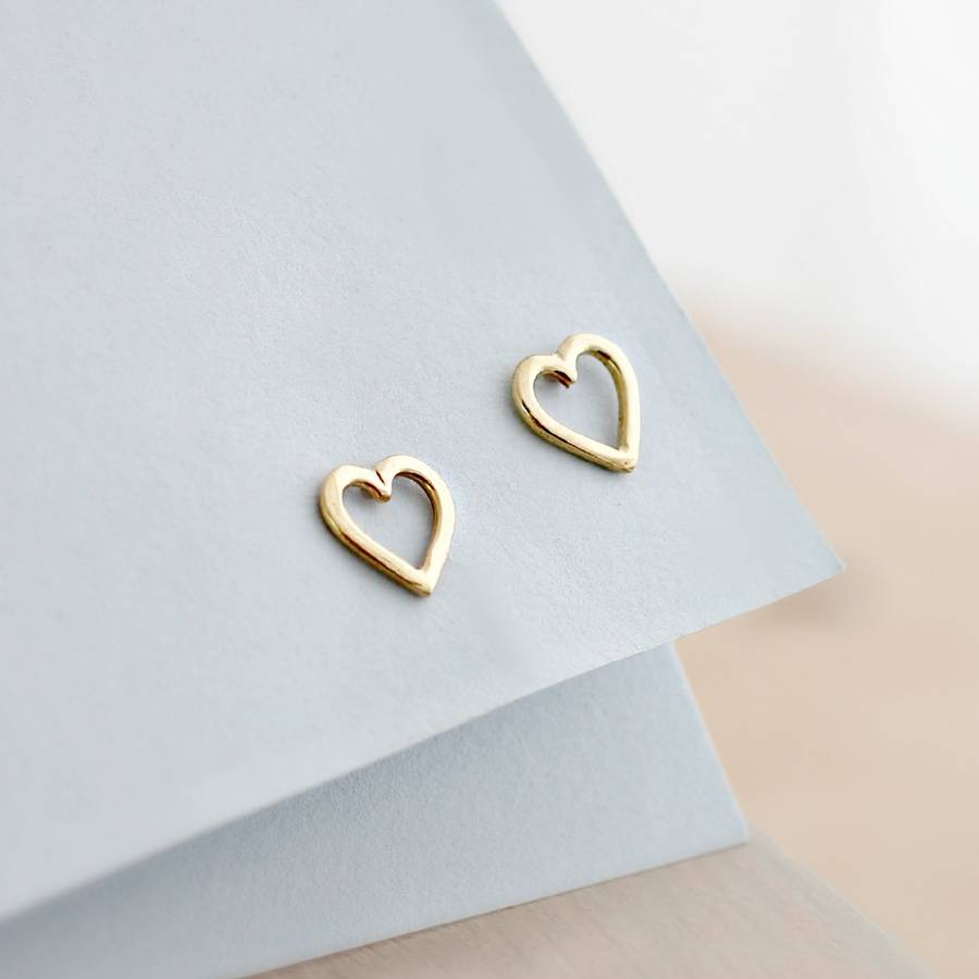 9ct Gold Mini Heart Stud Earrings In Solid Yellow