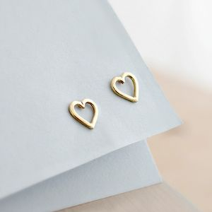 9ct Gold Mini Heart Stud Earrings - women's jewellery