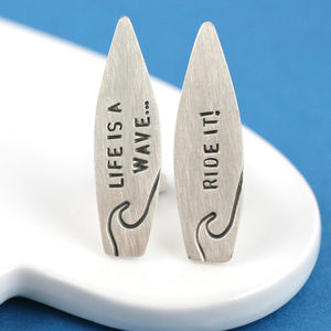 Personalised Silver Surf Quote Cufflinks - cufflinks