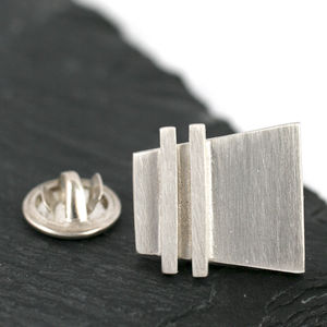 Handmade Silver Deco Pinstripe Tie Pin