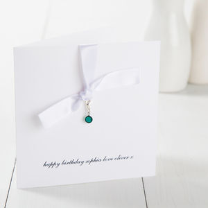 Personalised Swarovski Birthstone Card - cards sent direct