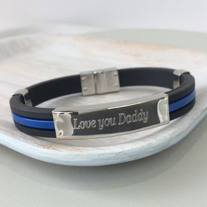 Men's Personalised Steel And Rubber Identity Bracelet