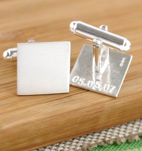 Personalised Secret Message Silver Cufflinks - 25th anniversary: silver