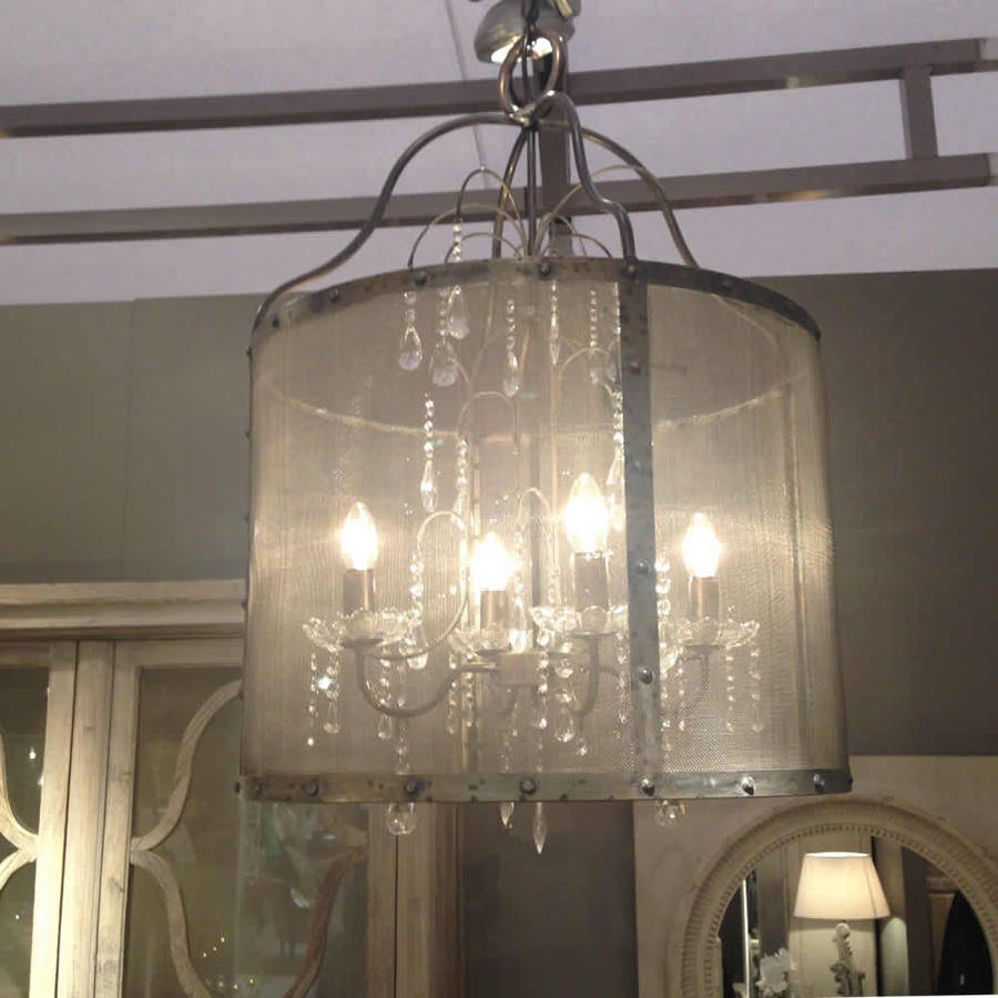 Riveted Metal Mesh Round Chandelier With Glass Droplets