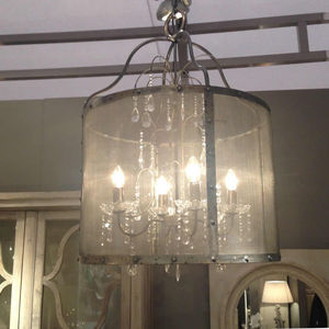 Riveted Metal Mesh Round Chandelier With Glass Droplets - lighting