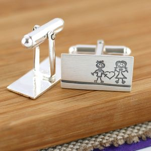 Couple's 'Him And Her' Silver Valentine's Day Cufflinks