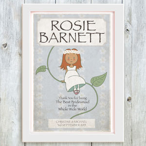 Flower Girl Fairytale Personalised Thank You Print