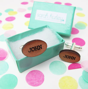 Engraved Personalised Name Cufflinks - new in fashion