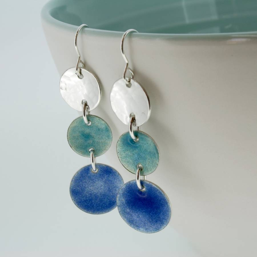 handmade langorran enamelled silver earrings by carole