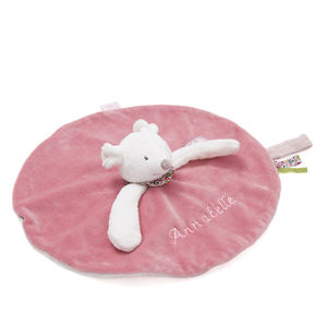 Personalised Embroidered Pink Mouse Comforter - gifts for babies
