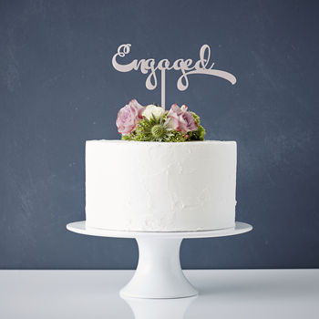 Calligraphy 'Engaged' Cake Topper