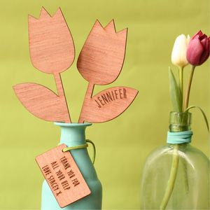 Personalised Wooden Flowers Thank You Gift - home sale