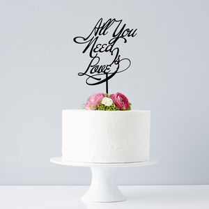 Elegant 'All You Need Is Love' Wedding Cake Topper - cake toppers & decorations