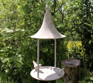 Aged Metal Bird Feeder - bird feeders