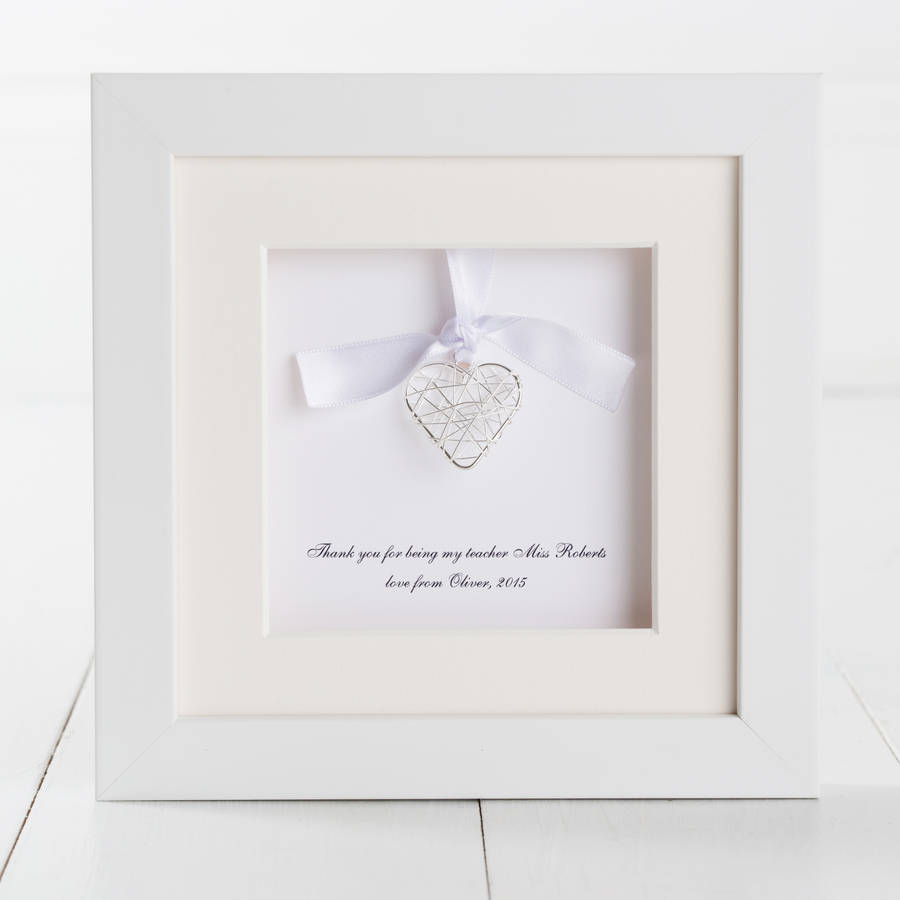 personalised heart thank you teacher box frame by twenty-seven ...