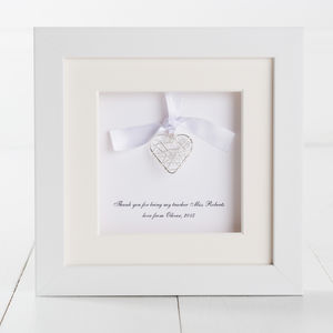 Personalised Heart Thank You Teacher Box Frame
