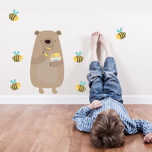 Honey Thief Bear Fabric Wall Sticker - children's room accessories
