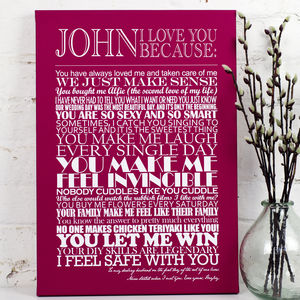 Personalised 'I Love You Because…' Print - for him