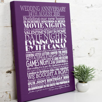Large Stretch Canvas - Personalised Anniversary Print