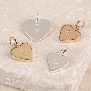 Personalised Heart Charm With Hand Stamped Initial