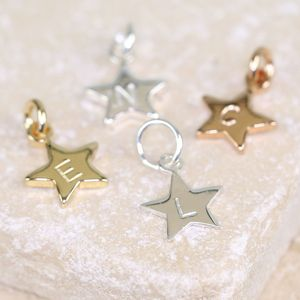 Personalised Star Charm With Hand Stamped Initial