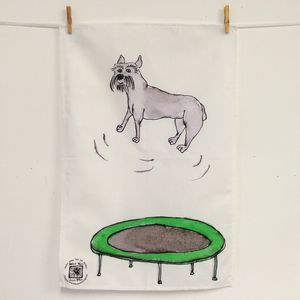 Schnauzer Dog On A Trampoline Cotton Tea Towel