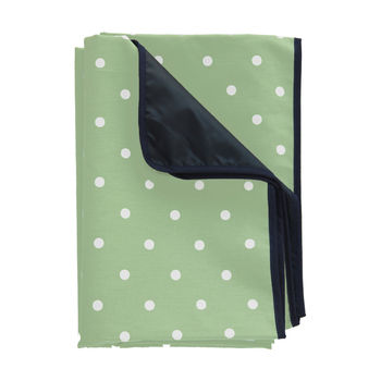 Waterproof Green Polka Dot Picnic Rug