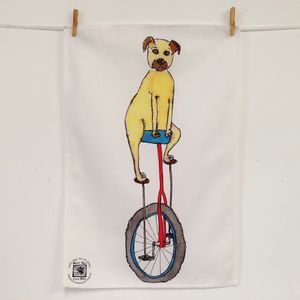 Dog On A Unicycle Cotton Tea Towel