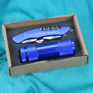 Pocket Torch And Personalised Multi Tool Gift Set