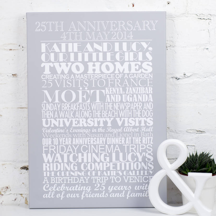 personalised silver wedding anniversary print 25th wedding anniversary Large Stretched canvas earl grey background Personalised Silver Wedding Anniversary Print