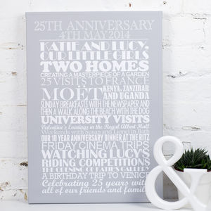 Personalised Silver Wedding Anniversary Print - 25th anniversary: silver