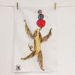 Afghan Hound Dog Balancing Act Cotton Tea Towel