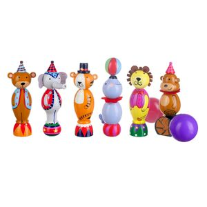 Wooden Vintage Circus Animal Skittles - traditional toys & games